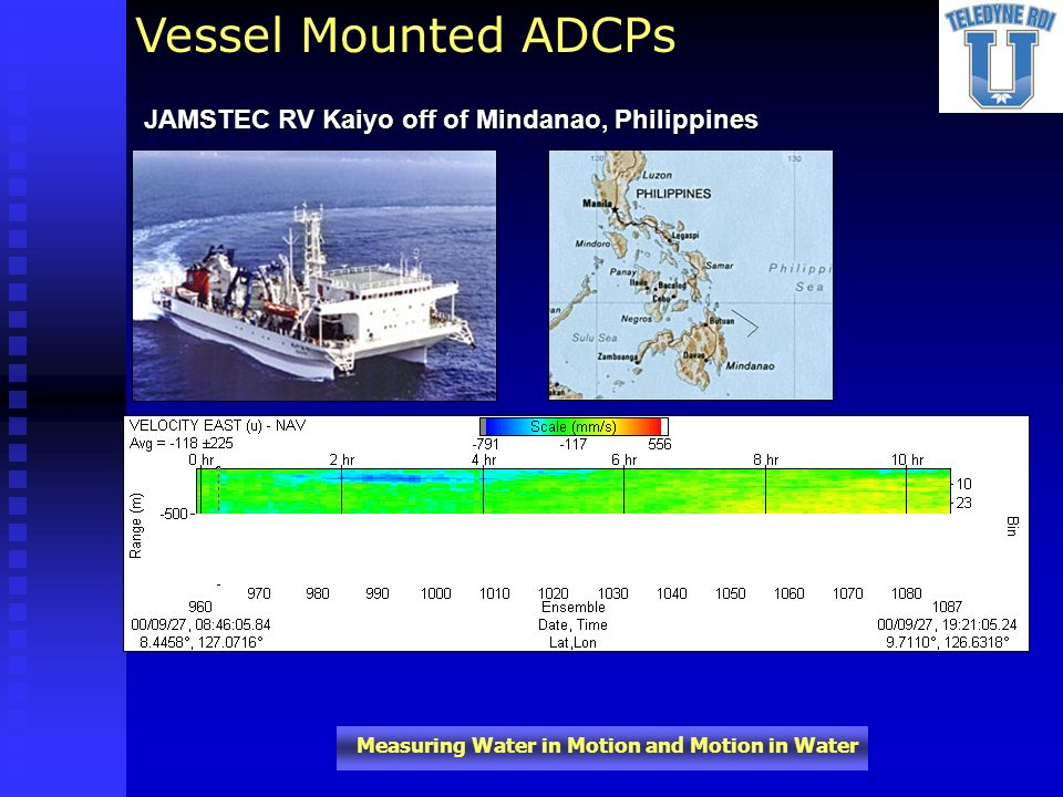 Measuring Water in Motion and Motion in Water JAMSTEC RV Kaiyo off of Mindanao, Philippines Vessel Mounted ADCPs
