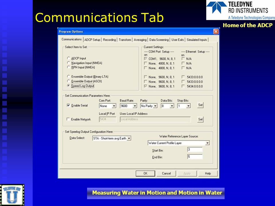 Home of the ADCP Measuring Water in Motion and Motion in Water Communications Tab