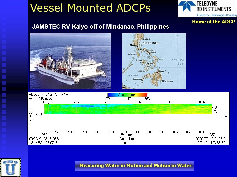 Home of the ADCP Measuring Water in Motion and Motion in Water JAMSTEC RV Kaiyo off of Mindanao, Philippines Vessel Mounted ADCPs
