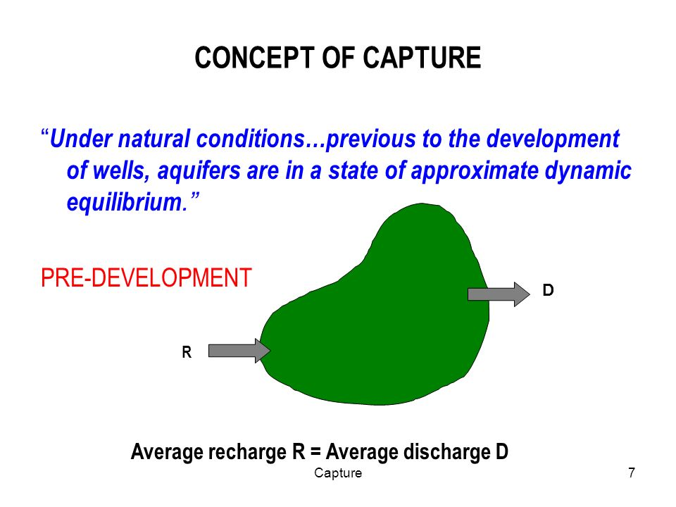 7 CONCEPT OF CAPTURE Under natural conditions…previous to the development of wells, aquifers are in a state of approximate dynamic equilibrium.