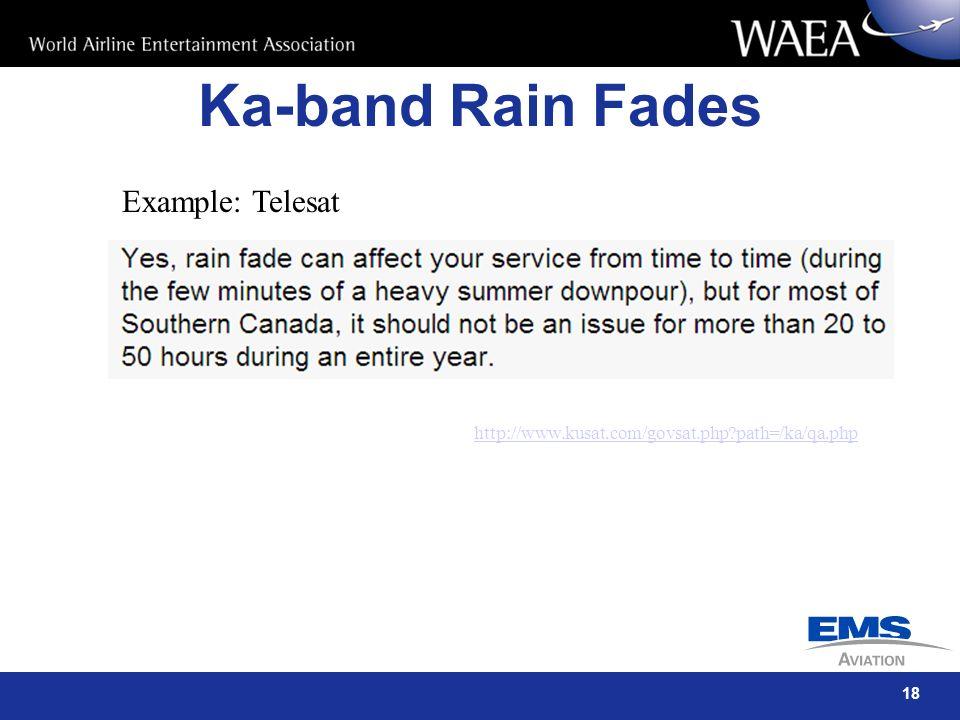 18 Ka-band Rain Fades http://www.kusat.com/govsat.php?path=/ka/qa.php Example: Telesat