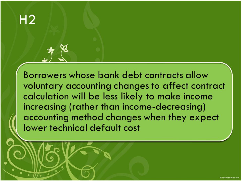 H2 Borrowers whose bank debt contracts allow voluntary accounting changes to affect contract calculation will be less likely to make income increasing