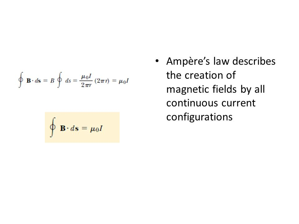 Ampères law describes the creation of magnetic fields by all continuous current configurations