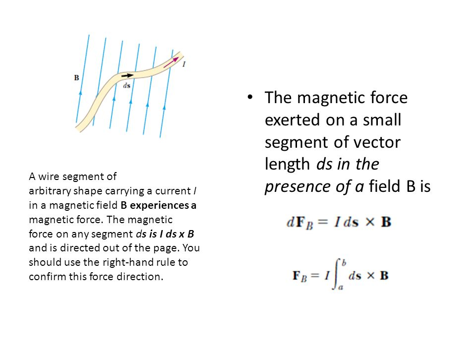 The magnetic force exerted on a small segment of vector length ds in the presence of a field B is A wire segment of arbitrary shape carrying a current