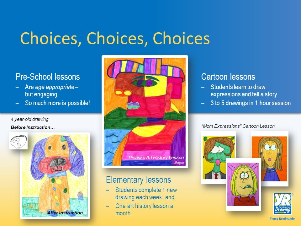 Mom Expressions Cartoon Lesson Choices, Choices, Choices Elementary lessons –Students complete 1 new drawing each week, and –One art history lesson a month Pre-School lessons –Are age appropriate – but engaging –So much more is possible.