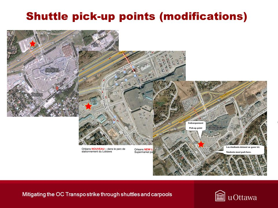 Shuttle pick-up points (modifications) Mitigating the OC Transpo strike through shuttles and carpools