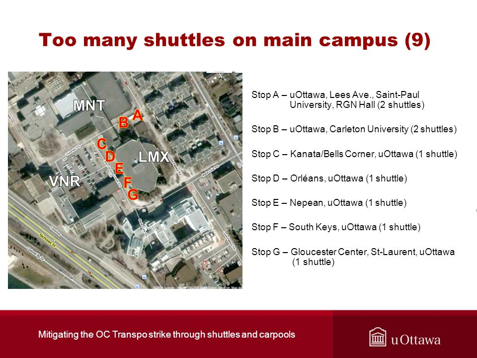 Too many shuttles on main campus (9) Stop A – uOttawa, Lees Ave., Saint-Paul University, RGN Hall (2 shuttles) Stop B – uOttawa, Carleton University (
