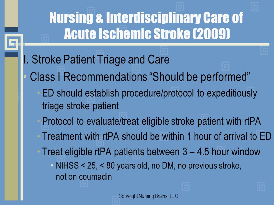 Nursing & Interdisciplinary Care of Acute Ischemic Stroke (2009) I. Stroke Patient Triage and Care Class I Recommendations Should be performed ED shou