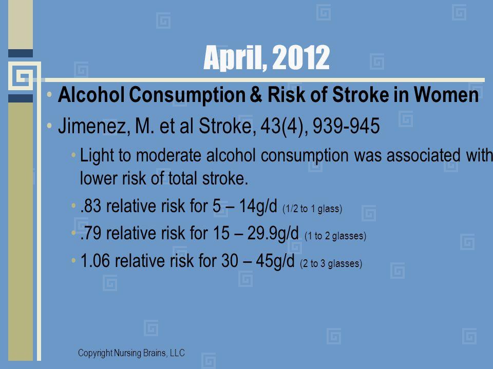 April, 2012 Alcohol Consumption & Risk of Stroke in Women Jimenez, M. et al Stroke, 43(4), 939-945 Light to moderate alcohol consumption was associate