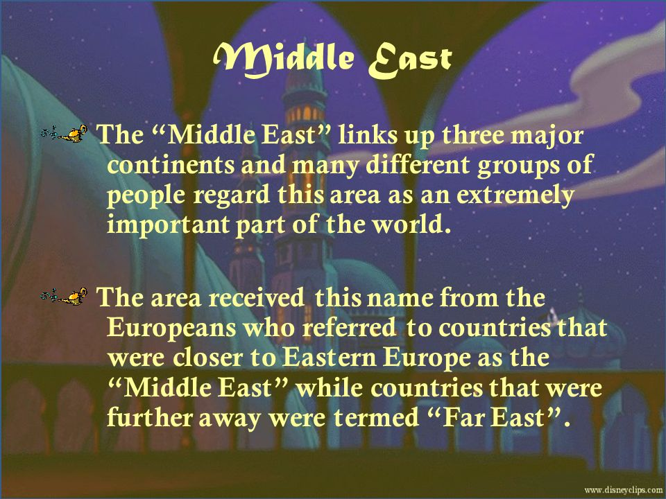 Middle East The Middle East links up three major continents and many different groups of people regard this area as an extremely important part of the