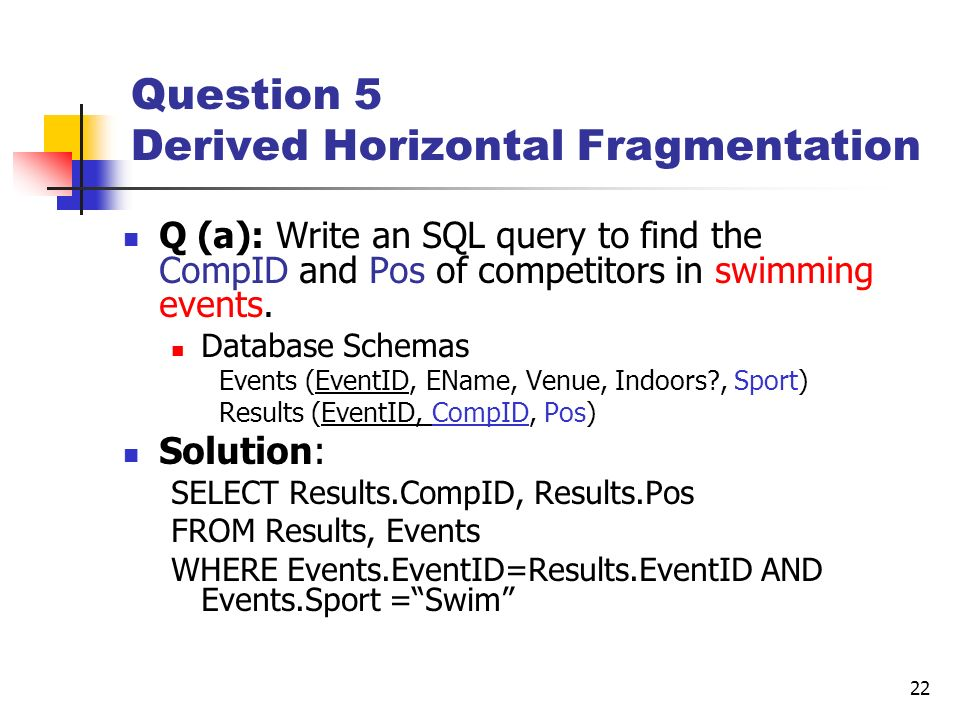 22 Question 5 Derived Horizontal Fragmentation Q (a): Write an SQL query to find the CompID and Pos of competitors in swimming events. Database Schema
