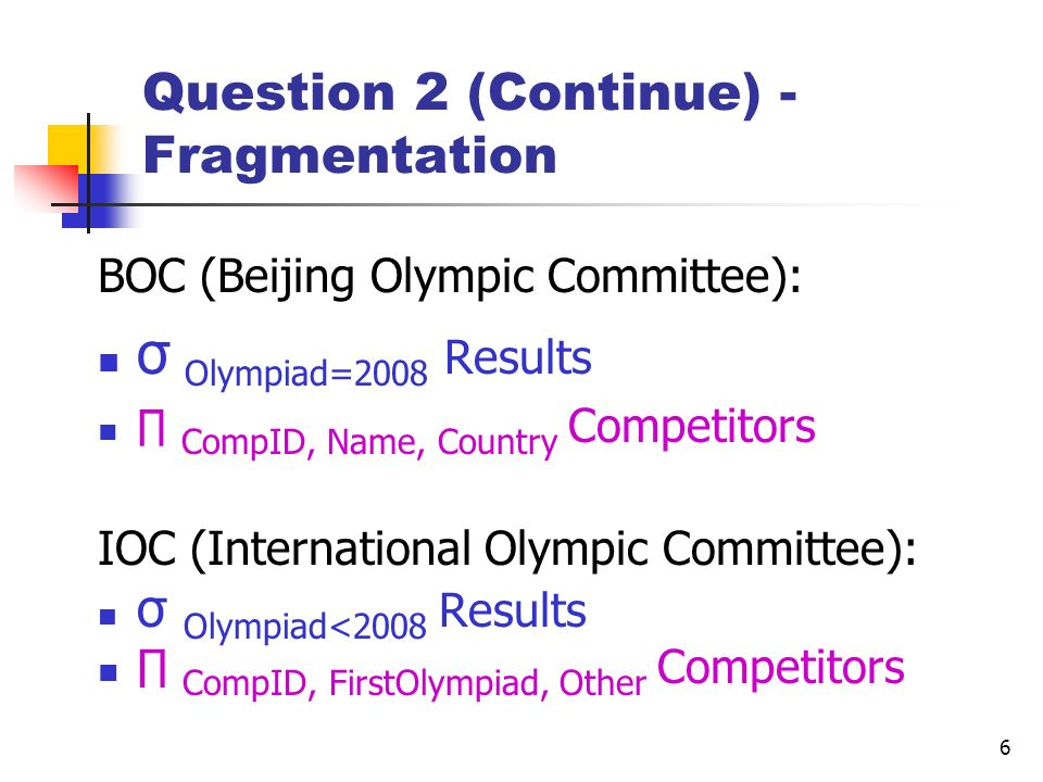 6 Question 2 (Continue) - Fragmentation BOC (Beijing Olympic Committee): σ Olympiad=2008 Results CompID, Name, Country Competitors IOC (International