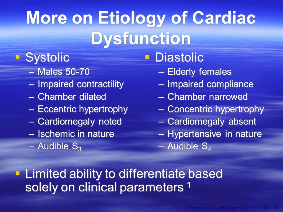 More on Etiology of Cardiac Dysfunction Systolic –Males 50-70 –Impaired contractility –Chamber dilated –Eccentric hypertrophy –Cardiomegaly noted –Isc