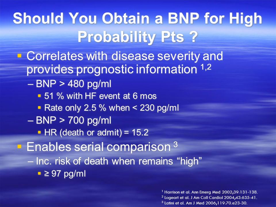 Should You Obtain a BNP for High Probability Pts ? Correlates with disease severity and provides prognostic information 1,2 –BNP > 480 pg/ml 51 % with