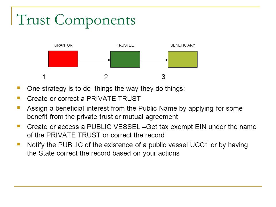 Trust Components One strategy is to do things the way they do things; Create or correct a PRIVATE TRUST Assign a beneficial interest from the Public N