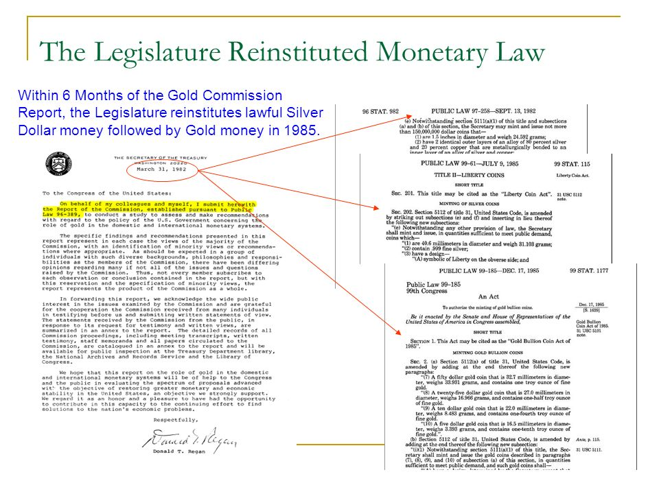 The Legislature Reinstituted Monetary Law Within 6 Months of the Gold Commission Report, the Legislature reinstitutes lawful Silver Dollar money follo