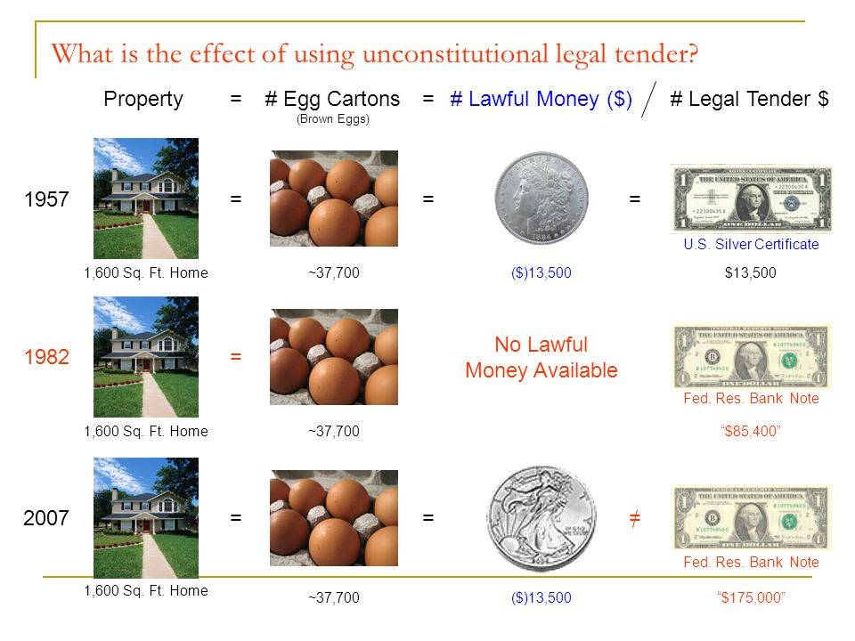 Property=# Lawful Money ($) ($)13,500 = 1957 1,600 Sq. Ft. Home =# Egg Cartons (Brown Eggs) = ~37,700 # Legal Tender $ $13,500 = U.S. Silver Certifica