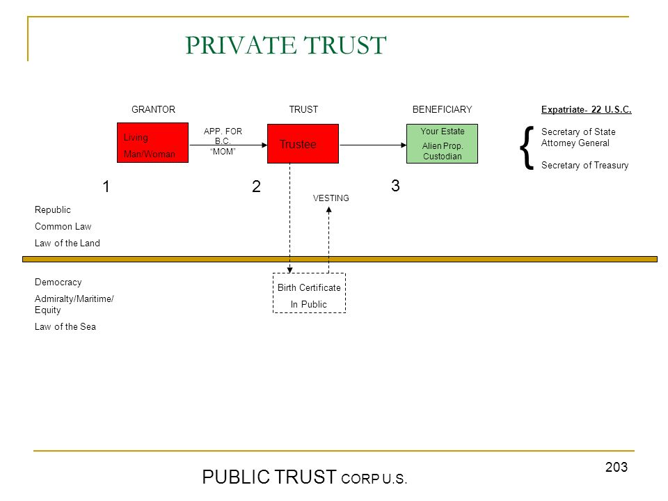 203 PRIVATE TRUST PUBLIC TRUST CORP U.S. GRANTORTRUST BENEFICIARY Republic Common Law Law of the Land Democracy Admiralty/Maritime/ Equity Law of the