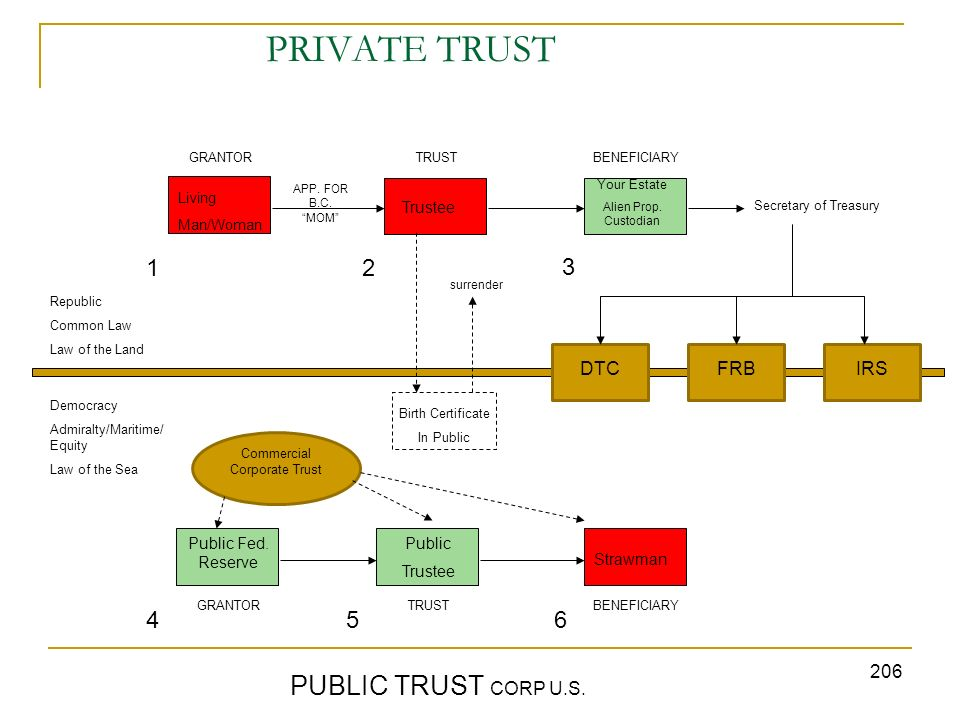 206 PRIVATE TRUST PUBLIC TRUST CORP U.S. GRANTORTRUST BENEFICIARY Republic Common Law Law of the Land Democracy Admiralty/Maritime/ Equity Law of the