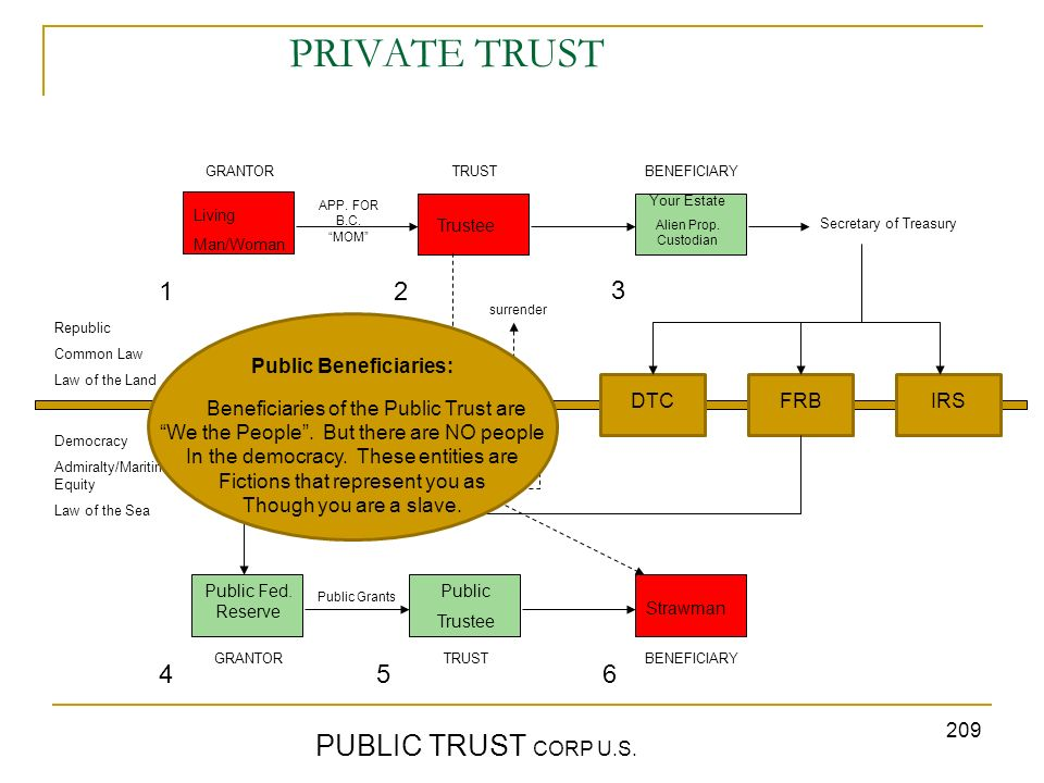 209 PRIVATE TRUST PUBLIC TRUST CORP U.S. GRANTORTRUST BENEFICIARY Republic Common Law Law of the Land Democracy Admiralty/Maritime/ Equity Law of the