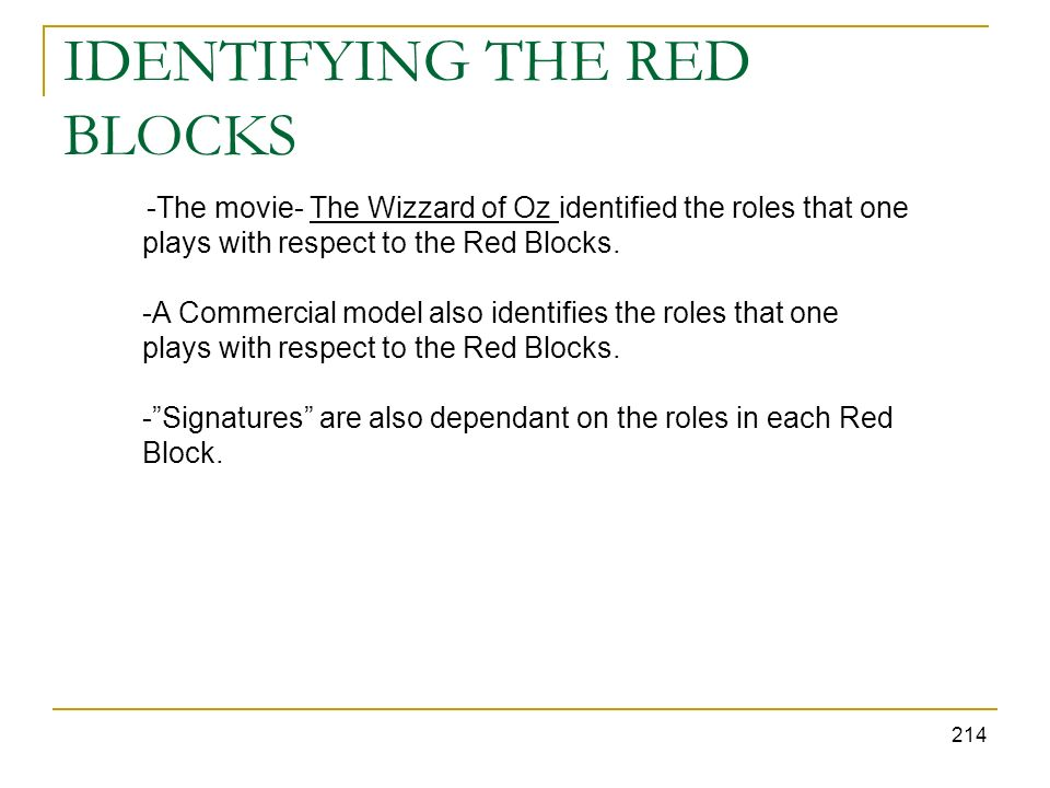 IDENTIFYING THE RED BLOCKS 214 -The movie- The Wizzard of Oz identified the roles that one plays with respect to the Red Blocks. -A Commercial model a