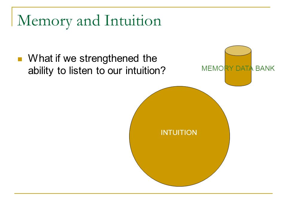 Memory and Intuition What if we strengthened the ability to listen to our intuition? MEMORY DATA BANK INTUITION