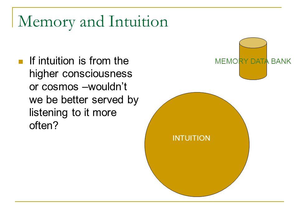 Memory and Intuition If intuition is from the higher consciousness or cosmos –wouldnt we be better served by listening to it more often? MEMORY DATA B