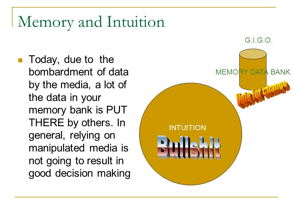 Memory and Intuition Today, due to the bombardment of data by the media, a lot of the data in your memory bank is PUT THERE by others. In general, rel