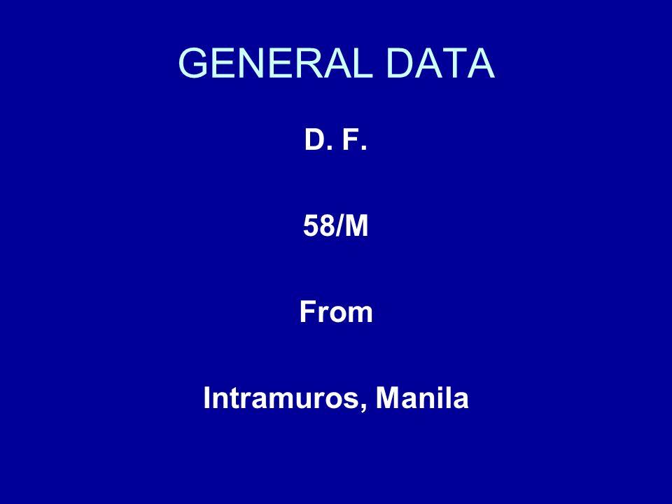 GENERAL DATA D. F. 58/M From Intramuros, Manila