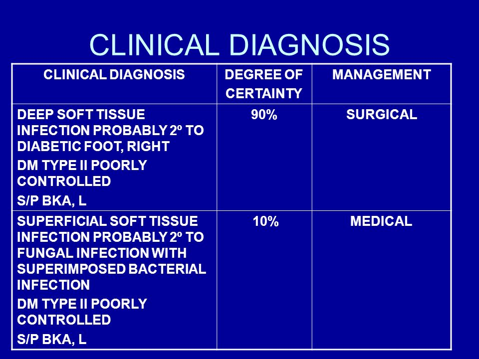 CLINICAL DIAGNOSIS DEGREE OF CERTAINTY MANAGEMENT DEEP SOFT TISSUE INFECTION PROBABLY 2º TO DIABETIC FOOT, RIGHT DM TYPE II POORLY CONTROLLED S/P BKA,