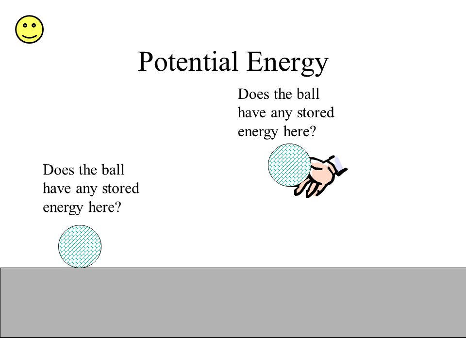 Potential Energy Does the ball have any stored energy here?