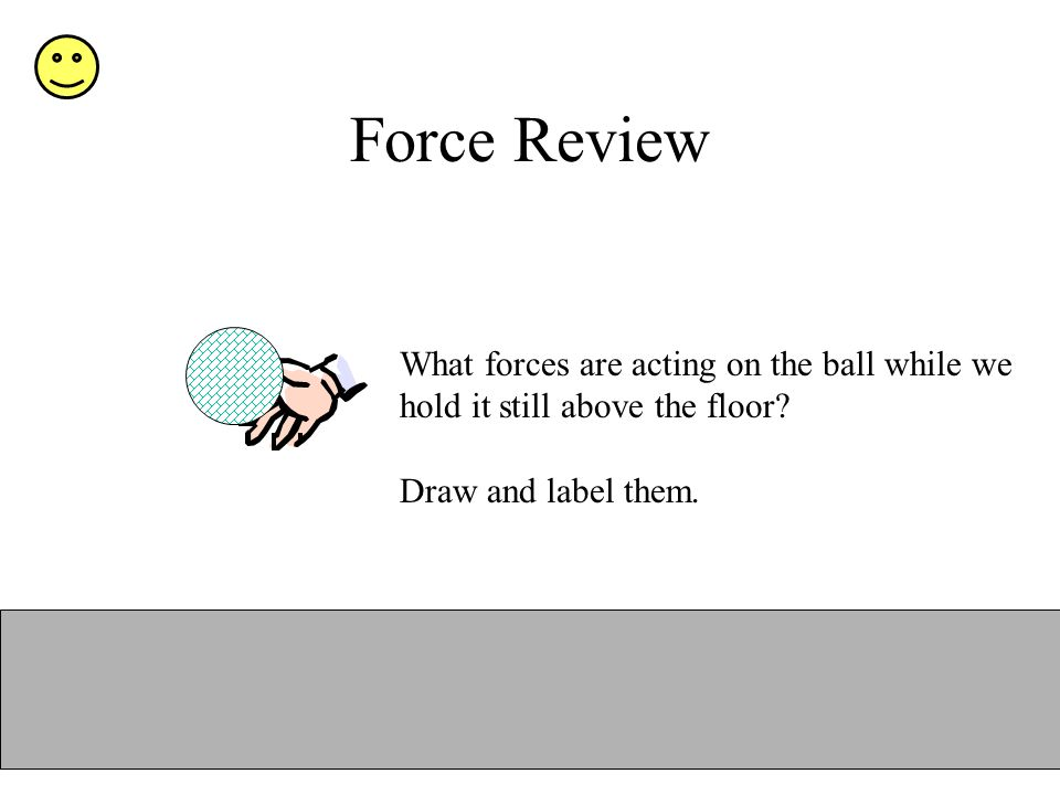 Force Review What forces are acting on the ball while we hold it still above the floor? Draw and label them.
