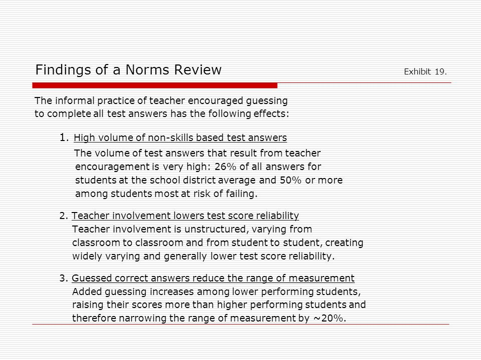 Findings of a Norms Review Exhibit 19.