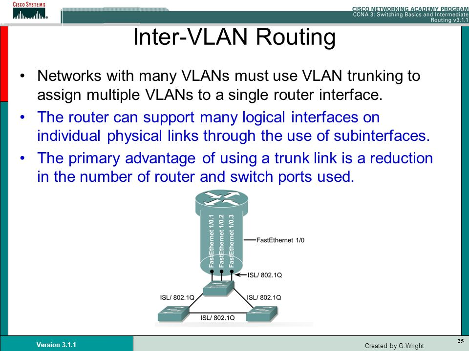 25 Version 3.1.1 Created by G.Wright Inter-VLAN Routing Networks with many VLANs must use VLAN trunking to assign multiple VLANs to a single router in