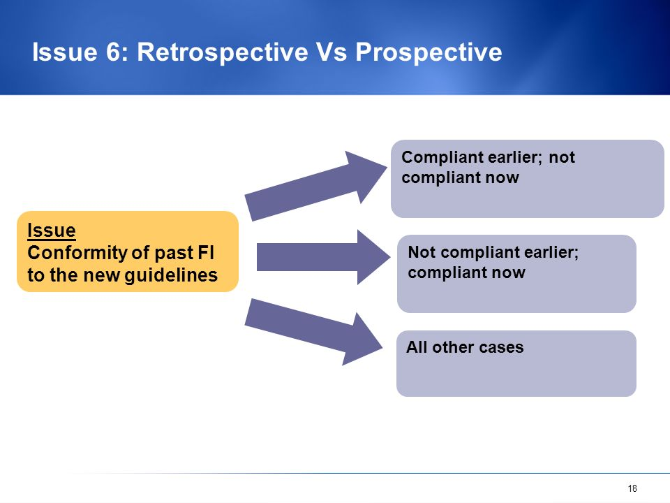 18 Issue 6: Retrospective Vs Prospective Issue Conformity of past FI to the new guidelines Compliant earlier; not compliant now Not compliant earlier;