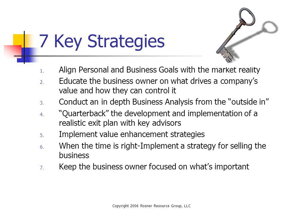 Copyright 2006 Rosner Resource Group, LLC 7 Key Strategies 1.
