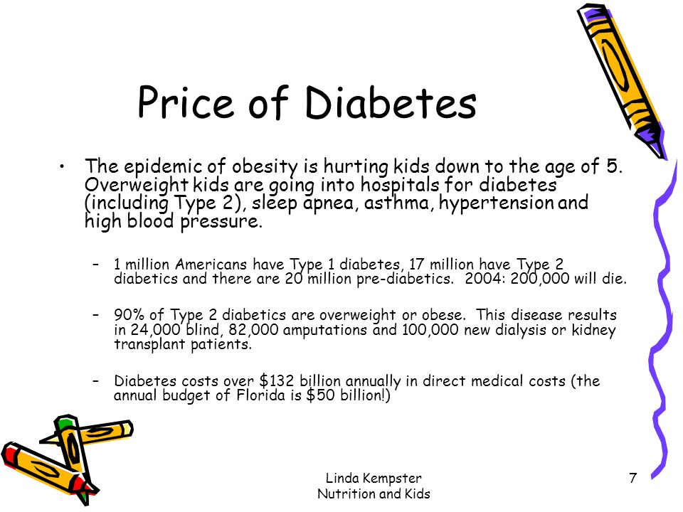 Linda Kempster Nutrition and Kids 7 Price of Diabetes The epidemic of obesity is hurting kids down to the age of 5. Overweight kids are going into hos