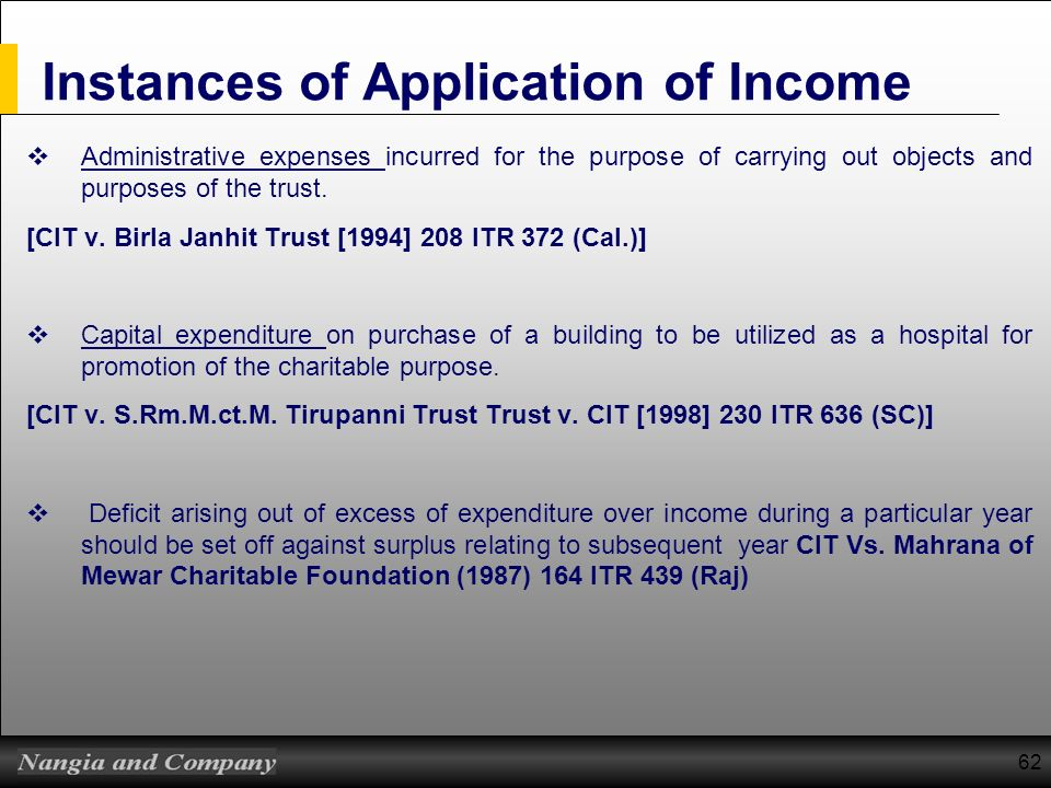 62 Instances of Application of Income Administrative expenses incurred for the purpose of carrying out objects and purposes of the trust. [CIT v. Birl