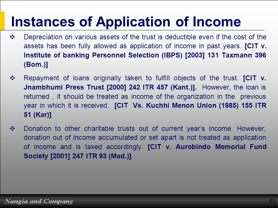 63 Instances of Application of Income Depreciation on various assets of the trust is deductible even if the cost of the assets has been fully allowed