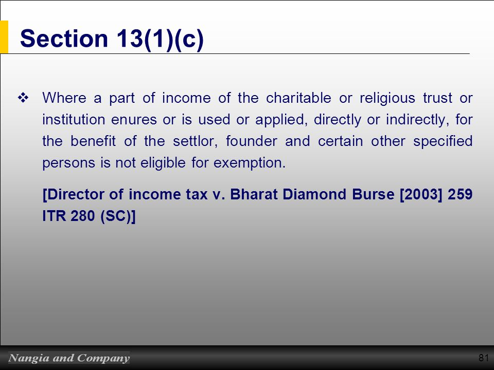 81 Section 13(1)(c) Where a part of income of the charitable or religious trust or institution enures or is used or applied, directly or indirectly, f