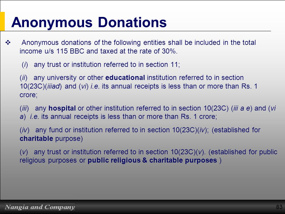 83 Anonymous Donations Anonymous donations of the following entities shall be included in the total income u/s 115 BBC and taxed at the rate of 30%. (