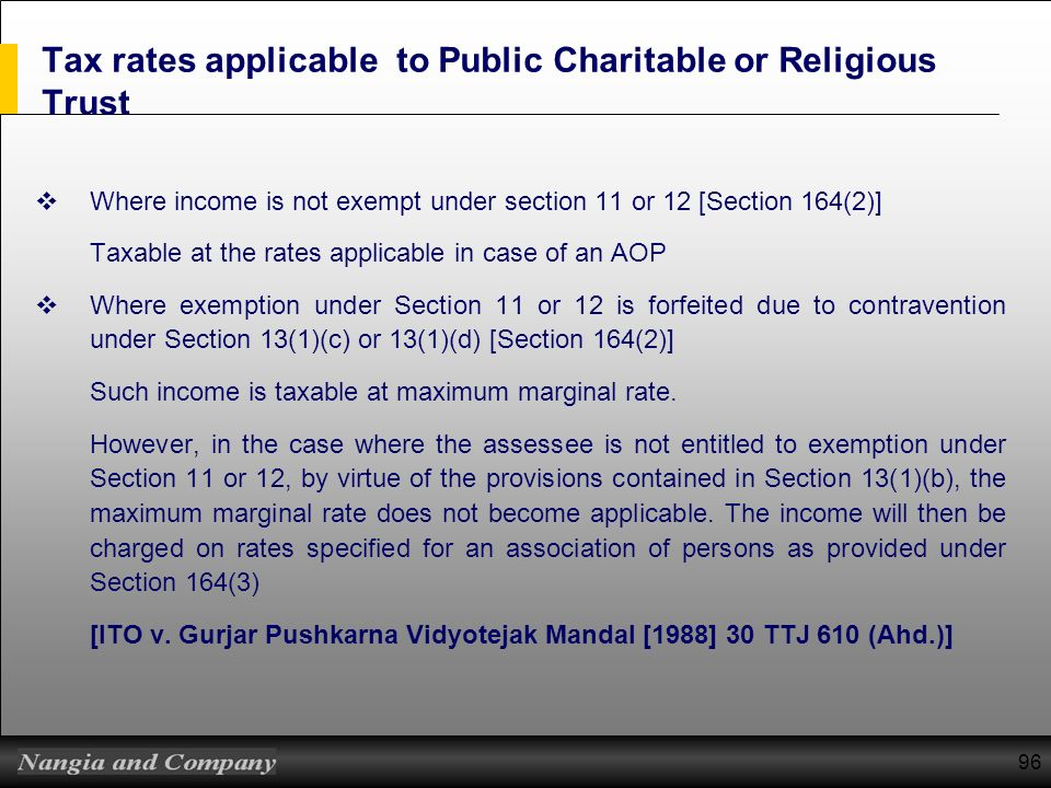 96 Tax rates applicable to Public Charitable or Religious Trust Where income is not exempt under section 11 or 12 [Section 164(2)] Taxable at the rate