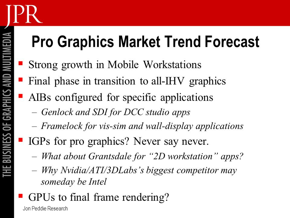 Jon Peddie Research Pro Graphics Market Trend Forecast Strong growth in Mobile Workstations Final phase in transition to all-IHV graphics AIBs configured for specific applications –Genlock and SDI for DCC studio apps –Framelock for vis-sim and wall-display applications IGPs for pro graphics.