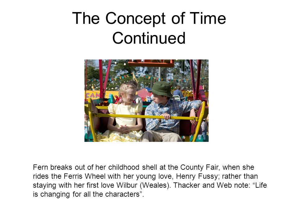 The Concept of Time Continued Fern breaks out of her childhood shell at the County Fair, when she rides the Ferris Wheel with her young love, Henry Fu