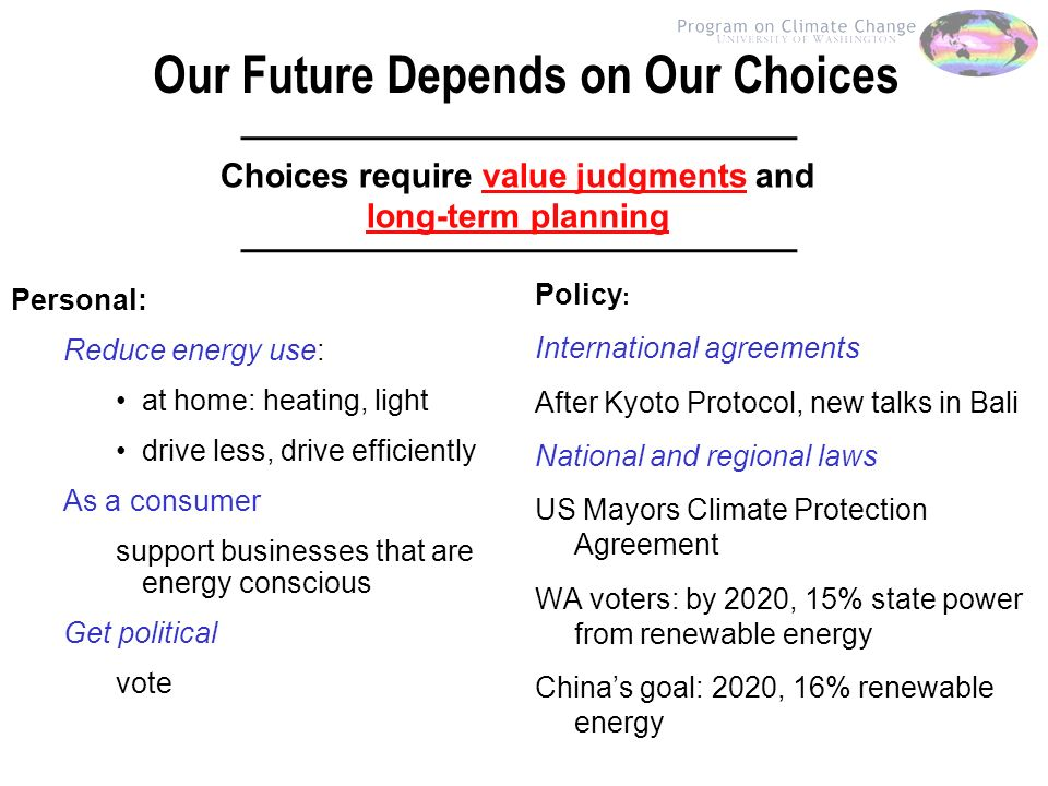 Our Future Depends on Our Choices Policy : International agreements After Kyoto Protocol, new talks in Bali National and regional laws US Mayors Climate Protection Agreement WA voters: by 2020, 15% state power from renewable energy Chinas goal: 2020, 16% renewable energy Personal: Reduce energy use: at home: heating, light drive less, drive efficiently As a consumer support businesses that are energy conscious Get political vote Choices require value judgments and long-term planning