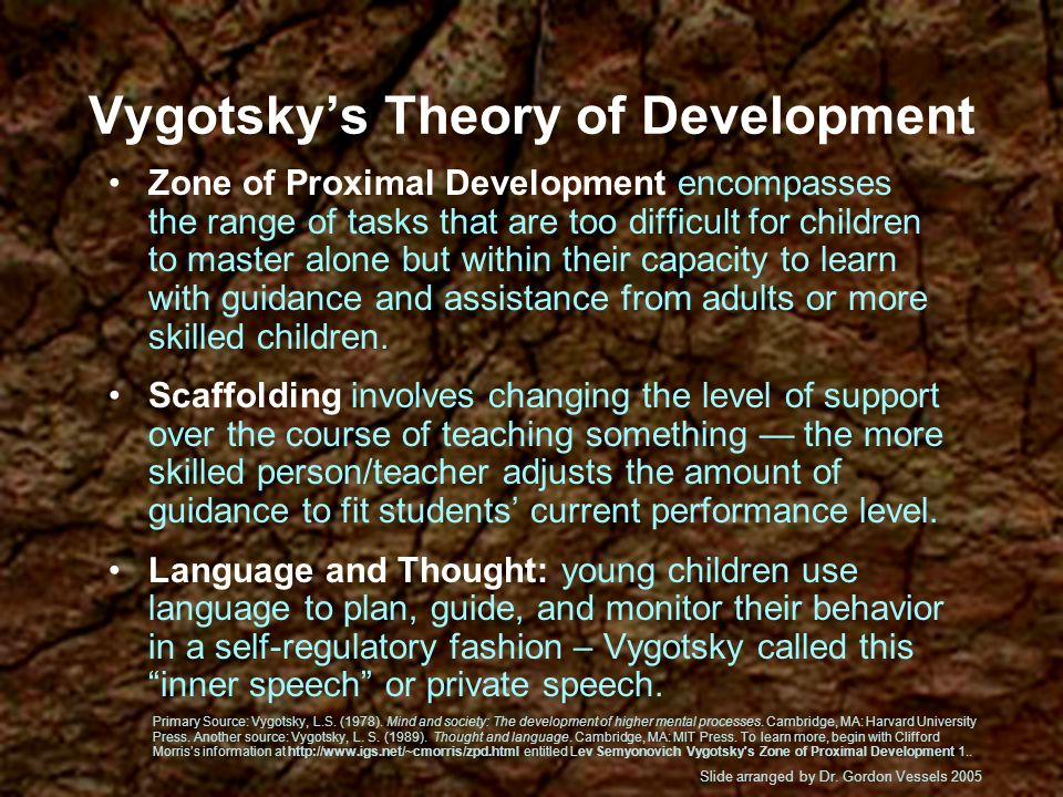 Childrens cognitive development is heavily influenced by social and cultural factors via relationships. Childrens thinking develops through dialogues