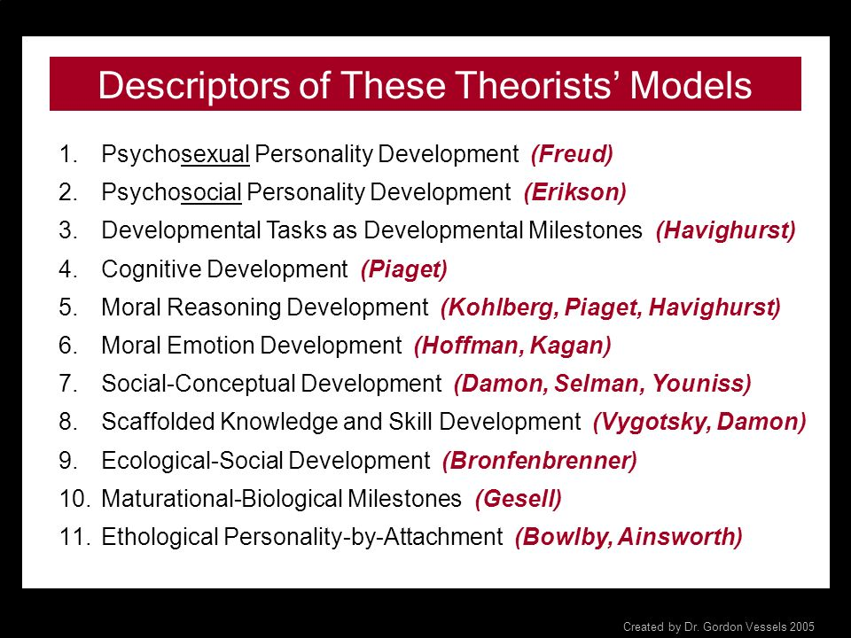 Theorists Connected with Each of the 9 Domains of Development 1. Physical-Maturational (Gesell) 2. Cognitive-Intellectual (Piaget, Damon) 3. Social-In