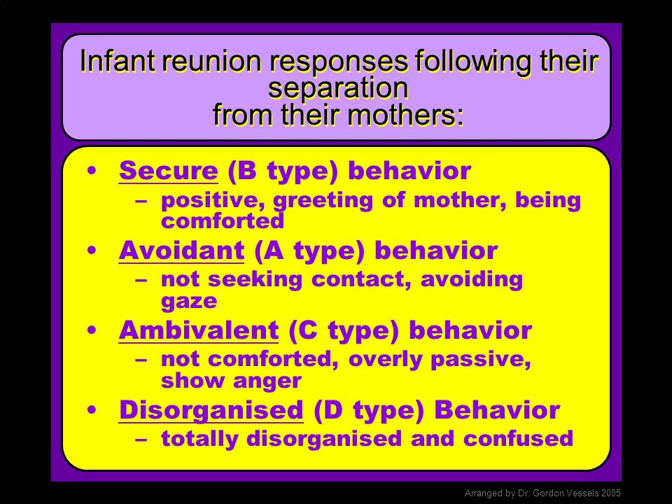 Researching Attachment: Strange Situation Test The Strange Situation Test involves separating the very young child (toddler) from its mother or primar