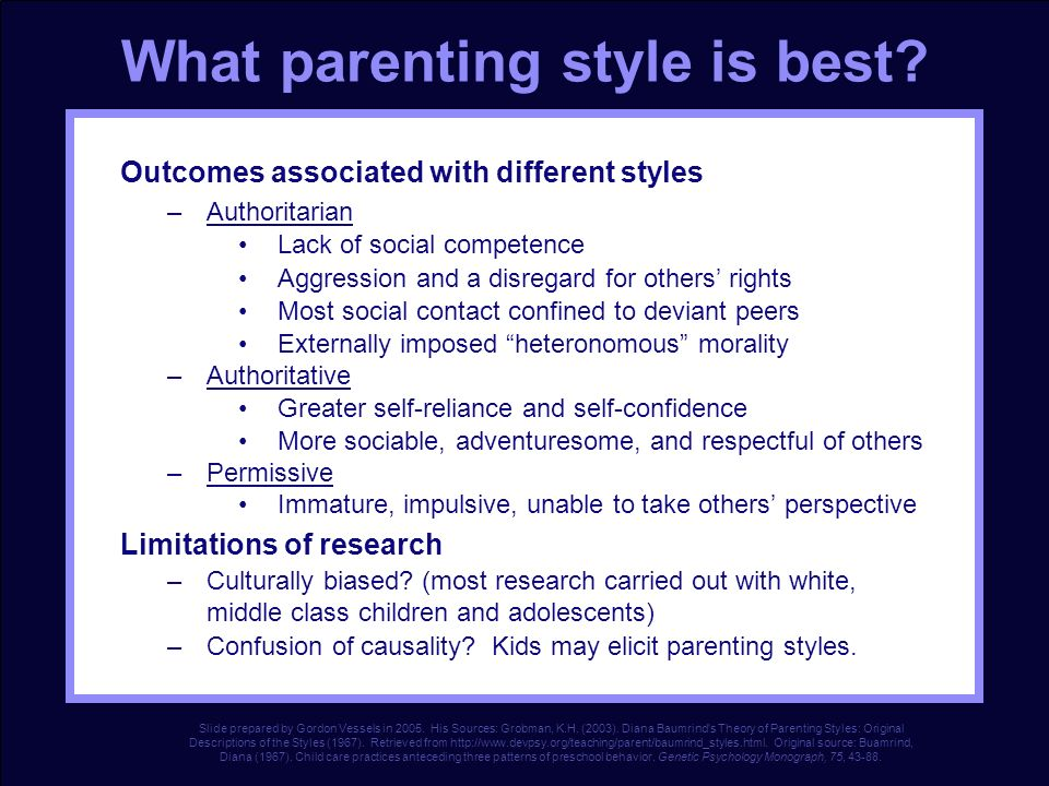 Baumrind Parent-Child Relationships Baumrind (1983) states that there are 3 types of parenting: Permissive – set few rules and rarely punish their chi