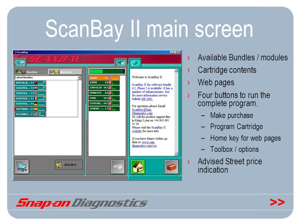 >> ScanBay II main screen Available Bundles / modules Cartridge contents Web pages Four buttons to run the complete program. –Make purchase –Program C